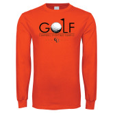 Orange Long Sleeve T Shirt-Golf Text Design