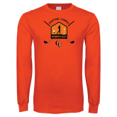 Orange Long Sleeve T Shirt-Golf Crossed Sticks Designs