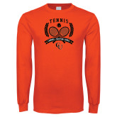 Orange Long Sleeve T Shirt-Crossed Tennis Design