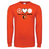 Orange Long Sleeve T Shirt-Peace, Love and Volleyball Design