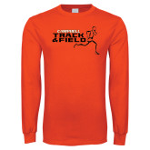 Orange Long Sleeve T Shirt-Track and Field Runner Design
