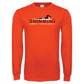 Orange Long Sleeve T Shirt-Swimming w/ Swimmer Design