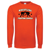 Orange Long Sleeve T Shirt-Wrestling Design