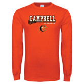 Orange Long Sleeve T Shirt-Lacrosse Stick Design