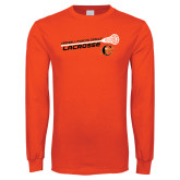 Orange Long Sleeve T Shirt-Lacrosse Stick Rise Design