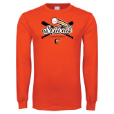 Orange Long Sleeve T Shirt-Softball Crossed Bats Design