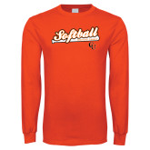 Orange Long Sleeve T Shirt-Softball Script w/ Bat Design