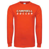 Orange Long Sleeve T Shirt-Soccer Design