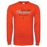 Orange Long Sleeve T Shirt-2018 Womens Golf Champions
