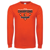 Orange Long Sleeve T Shirt-2018 Baseball Champions