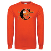 Orange Long Sleeve T Shirt-Campbell Official Logo - Distressed