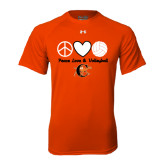 Under Armour Orange Tech Tee-Peace, Love and Volleyball Design