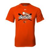 Under Armour Orange Tech Tee-Softball Crossed Bats Design