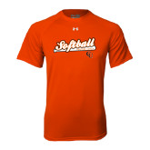 Under Armour Orange Tech Tee-Softball Script w/ Bat Design