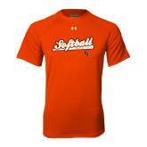 Under Armour Orange Tech Tee-Softball Script w/ Bat Design
