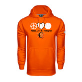 Under Armour Orange Performance Sweats Team Hoodie-Peace, Love and Volleyball Design