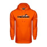 Under Armour Orange Performance Sweats Team Hoodie-Swimming w/ Swimmer Design