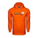 Under Armour Orange Performance Sweats Team Hoodie-Lacrosse Stick Rise Design