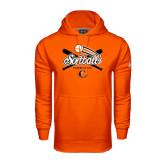 Under Armour Orange Performance Sweats Team Hoodie-Softball Crossed Bats Design
