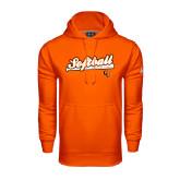 Under Armour Orange Performance Sweats Team Hoodie-Softball Script w/ Bat Design