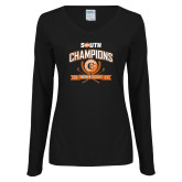 Ladies Black Long Sleeve V Neck T Shirt-2017 Big South Champions Womens Golf