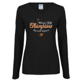 Ladies Black Long Sleeve V Neck Tee-2018 Womens Golf Champions