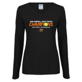 Ladies Black Long Sleeve V Neck Tee-2018 Mens Tennis Champions