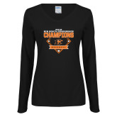 Ladies Black Long Sleeve V Neck Tee-2018 Baseball Champions