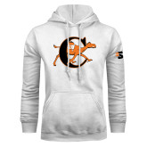 White Fleece Hoodie-Campbell Official Logo