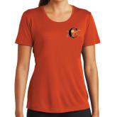 Ladies Performance Orange Tee-Campbell Official Logo