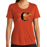 Ladies Syntrel Performance Orange Tee-Campbell Official Logo