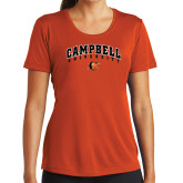 Ladies Syntrel Performance Orange Tee-Arched Campbell University
