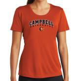 Ladies Performance Orange Tee-Arched Campbell University