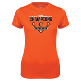 Ladies Syntrel Performance Orange Tee-2018 Baseball Champions