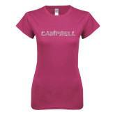Ladies SoftStyle Junior Fitted Fuchsia Tee-Rhinestone Campbell, Crystal Rhinestones