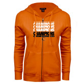 ENZA Ladies Orange Fleece Full Zip Hoodie-2017 Southern Conference Wrestling