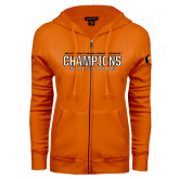ENZA Ladies Orange Fleece Full Zip Hoodie-2017 Southern Conference Wrestling