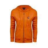 ENZA Ladies Orange Fleece Full Zip Hoodie-Campbell Official Logo