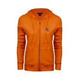 ENZA Ladies Orange Fleece Full Zip Hoodie-CU