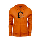 ENZA Ladies Orange Fleece Full Zip Hoodie-Campbell Official Logo