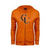 ENZA Ladies Orange Fleece Full Zip Hoodie-CU
