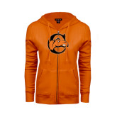 ENZA Ladies Orange Fleece Full Zip Hoodie-C w/ Camel Head
