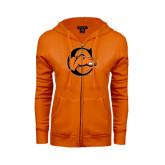ENZA Ladies Orange Fleece Full Zip Hoodie-C w/ Camel Head
