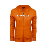ENZA Ladies Orange Fleece Full Zip Hoodie-Campbell Flat