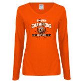 Ladies Orange Long Sleeve V Neck T Shirt-2017 Big South Champions Womens Golf