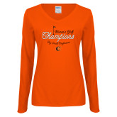 Ladies Orange Long Sleeve V Neck Tee-2018 Womens Golf Champions