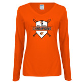 Ladies Orange Long Sleeve V Neck Tee-2018 Baseball Champions