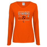 Ladies Orange Long Sleeve V Neck Tee-2018 Mens Soccer Big South Champions