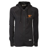 Ladies Under Armour Black Varsity Full Zip Hoodie-Campbell Official Logo