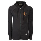 Ladies Under Armour Black Varsity Full Zip Hoodie-CU